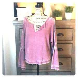 Free people bell sleeved waffle knit top